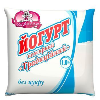 Йогурт Заріччя нежирний традиційний 1,0% 400г - купить, цены на Ашан - фото 1