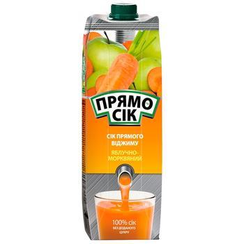 Сок Прямосок яблочно-морковный 1л - купить, цены на Ашан - фото 1