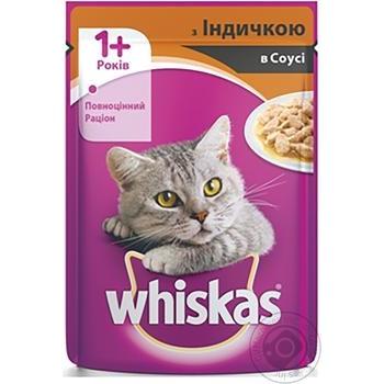 Корм для взрослых котов Whiskas с индейкой в соусе 100г - купить, цены на Ашан - фото 4