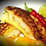Рыба по-мексикански в кукурузных блинчиках