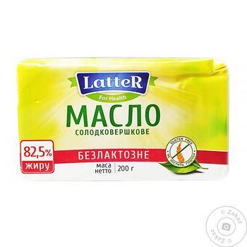 Масло LatteR сладкосливочное безлактозное 82.5% 200г - купить, цены на Novus - фото 1