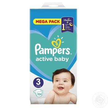 Pampers Active Baby-Dry 3 diapers 6-10kg 124pcs - buy, prices for MegaMarket - image 2