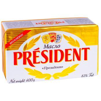 Масло сливочное President 82% 400г