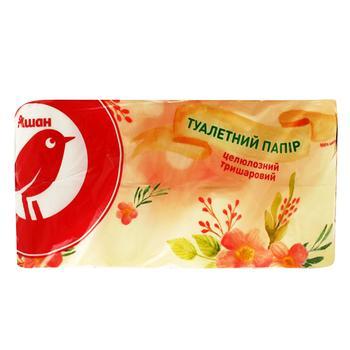 Туалетная бумага Ашан трехслойная 8шт - купить, цены на Ашан - фото 1