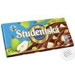 Шоколад ORION® Studentská молочный с арахисом, кусочками желе и груши 180г