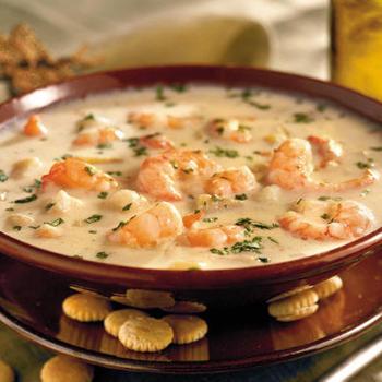 Овощной суп-пюре с креветками