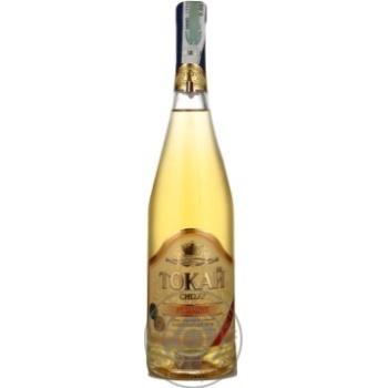 Вино белое Чизай Токай Фурминт виноградное ординарное столовое полусладкое 12% стеклянная бутылка 700мл Украина
