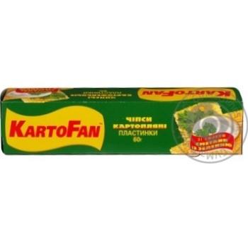 Чипсы КартоФан картофельные со вкусом сметаны с зеленью пластинки 60г Украина