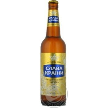 Пиво Оболонь Слава Краины светлое 5.3%об. стеклянная бутылка 500мл Украина