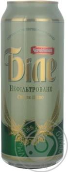 Скидка на Пиво Черниговское Белое светлое пастеризованное нефильтрованное железная банка 4.8%об. 500мл Украина