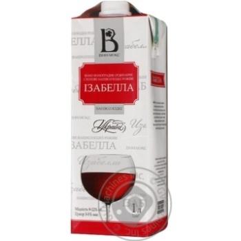 Вино розовое Винлюкс Изабелла виноградное ординарное столовое полусладкое 12% тетрапакет 1000мл Украина