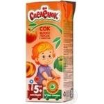 Сок Спелёнок яблоко-персик с мякотью детский восстановленный без сахара с 5 месяцев тетрапакет 200мл Россия