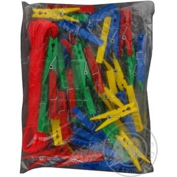 Прищіпки MTM 50шт+мотузка 20м 3117