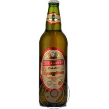 Пиво Хмельпиво Проскуровское живое светлое фильтрованное непастеризованное стеклянная бутылка 3.7%об. 500мл Украина