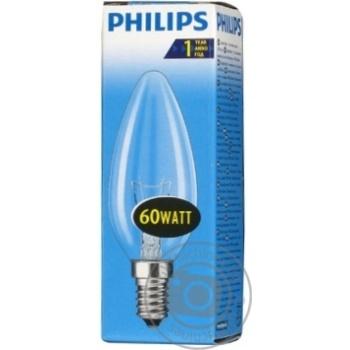 Лампа Philips B35 свічка прозора 60w Е14 CL - купить, цены на Novus - фото 3