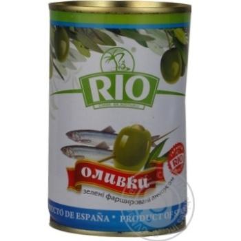 Оливки зелені Rio фаршировані Анчоус залізна банка 300мл