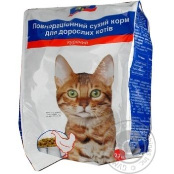 Корм Aro сухой полноценный с курицей для котов 2500г - купить, цены на Метро - фото 1