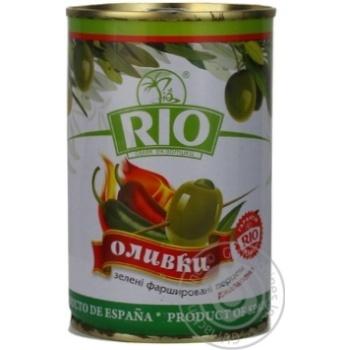 Оливки зелені Rio фаршировані Перець Джалапено залізна банка 300мл