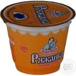 Ряженка Добряна термостатная 2.5% 230г пластиковый стакан Украина
