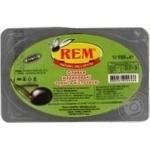 Оливки Рем маринованные черные с косточкой 150г Турция