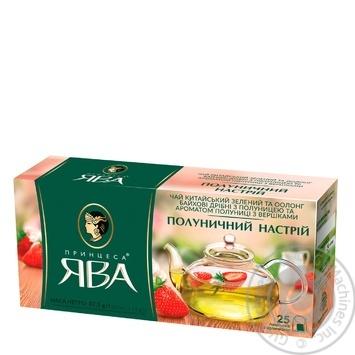 Green pekoe tea Princess Java Strawberry Mood with strawberry pieces 25х1.5g teabags Ukraine - buy, prices for CityMarket - photo 2