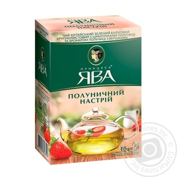 Tea Princess java Strawberry mood strawberries with cream green loose 85g cardboard box - buy, prices for MegaMarket - image 1