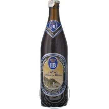 Pasteurized malt beer Hofbrau Schwarze Weisse glass bottle 5.1%alc 500ml Germany