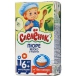 Puree Spelenok Apple with cottage cheese without sugar for 6+ month old babies tetra pak 125ml Russia