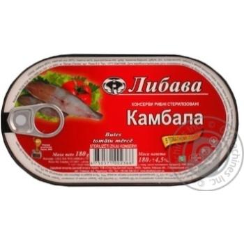 Камбала Либава в томатном соусе 180г железная банка Латвия - купить, цены на Novus - фото 1