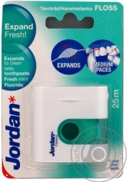 Зубная нить Jordan Expand Fresh 3Д объем с фтором для чувствительных зубов 25м Малайзия