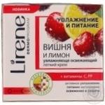 Крем для обличчя Lirene зволоження та живлення Вишня та лимон зволожуюче-освжаючий легкий 50мл