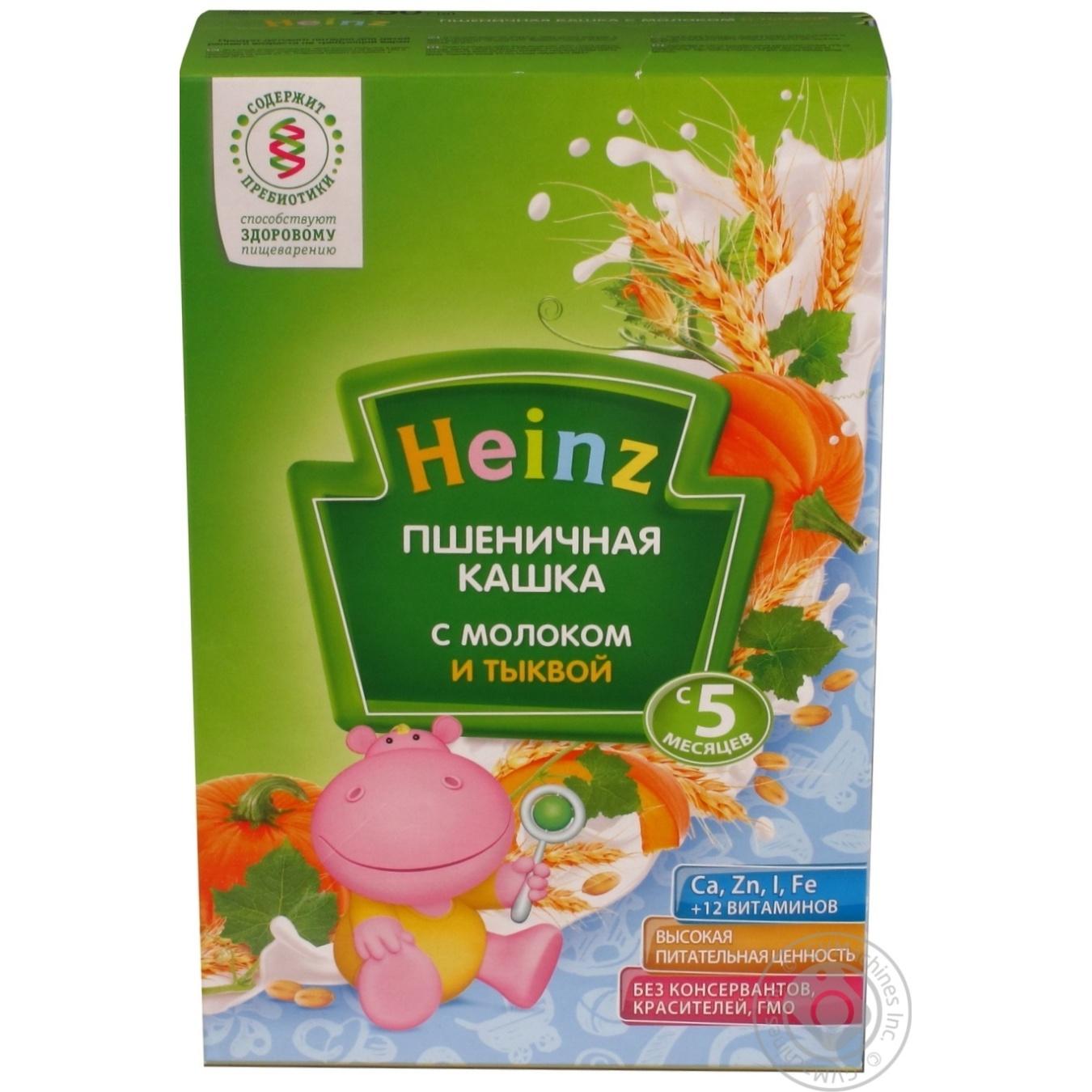 e181c4de8824c1 Каша детская Хайнц пшеничная с молоком и тыквой сухая с 5 месяцев 250г  Россия