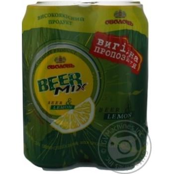 Пиво Оболонь Бирмикс Лимон специальное пастеризованное железная банка 2.4%об. 4х500мл Украина