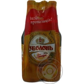 Пиво Оболонь Премиум светлое пастеризованное стеклянная бутылка 5%об. 4х500мл Украина