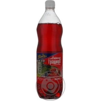 Non-alcoholic juice-containing sparkling drink Rosinka National Traditions Mors plastic bottle 1000ml Ukraine