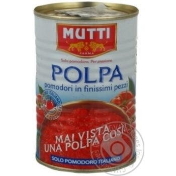 Овочі помідор Мутті шматочками 400г залізна банка Італія