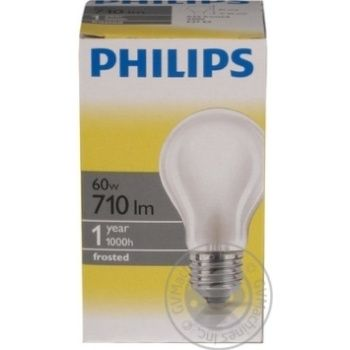 Лампа Philips A55 звичайна матова 60w Е27 FR