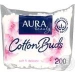 Палички ватні Aura beauty Cotton Buds 200шт поліетиленовий пакет Росія