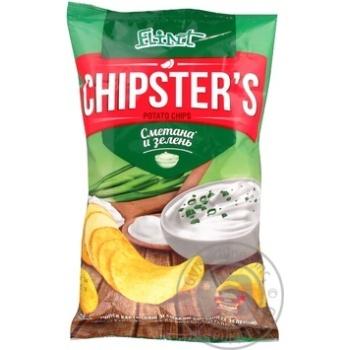 Скидка на Чипсы Flint Chipster's картофельные со вкусом сметаны с зеленью 70г