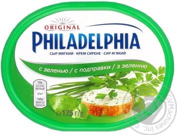 Скидка на Сыр Крафт Фудс Филадельфия мягкий с зеленью пастеризованный 64% 175г ванночка Германия