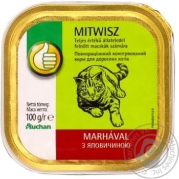 Корм консервированный Ашан Mitwisz паштетный с говядиной для кошек 100г - купить, цены на Ашан - фото 1