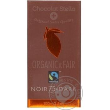 Шоколад черный Chocolat Stella органический 75% 100г