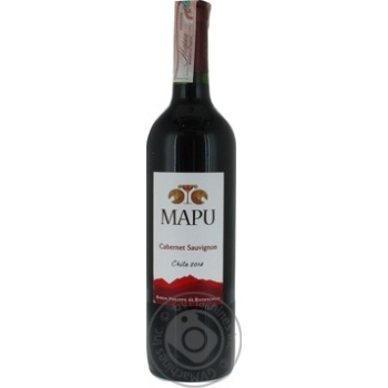 Wine cabernet sauvignon Mapu red dry 13% 2011year 750ml glass bottle Chili