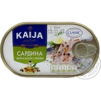 Сардина Kaija филе в масле с перцем 170г
