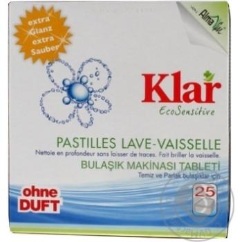 Таблетки Klar Eco Sensitive для посудомоечной машины органические без запаха 25*20г