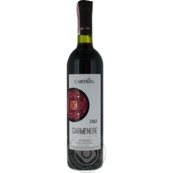 Wine carmener Cartaval red dry 9.5-14% 750ml glass bottle Chili