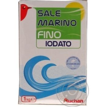 Морская соль Ашан пищевая йодированная мелкая 1кг - купить, цены на Ашан - фото 2