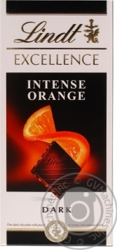 Шоколад черный  Lindt Excellence горький с апельсином 47% 100г