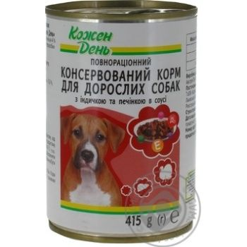 Консервы Каждый день для взрослых собак с индейкой и печенью в соусе 415г