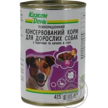 Консервы Каждый день для взрослых собак с индейкой и уткой в соусе 415г